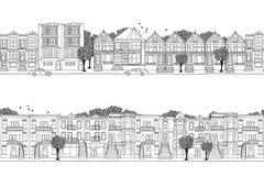 Δύο εμβλήματα πόλεων των βορειοαμερικανικών σπιτιών, που χτίζονται στο βικτοριανό ύφος Στοκ Φωτογραφίες