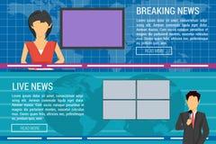 Δύο εμβλήματα των αγκύρων ειδήσεων παγκόσμιας TV Στοκ εικόνα με δικαίωμα ελεύθερης χρήσης
