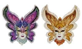 Δύο ενετικές μάσκες καρναβαλιού που απομονώνονται Στοκ εικόνα με δικαίωμα ελεύθερης χρήσης