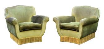 Δύο επικαλυμμένες πράσινες πολυθρόνες βελούδου Στοκ Εικόνες