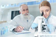 Δύο επιστήμονες στα άσπρα παλτά που λειτουργούν μαζί με το μικροσκόπιο Στοκ Εικόνες
