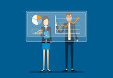 Δύο επιχειρηματίες αναλύουν στην οικονομική γραφική παράσταση εκθέσεων διανυσματική απεικόνιση