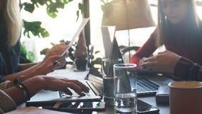 Δύο επιχειρηματίες που δακτυλογραφούν σε ένα lap-top σε έναν καφέ απόθεμα βίντεο