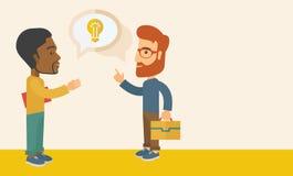 Δύο επιχειρηματίες που μιλούν για την επιχείρηση ελεύθερη απεικόνιση δικαιώματος