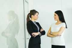 Δύο επιχειρηματίες που μιλούν σε ένα γραφείο με την αντανάκλαση Στοκ Φωτογραφίες