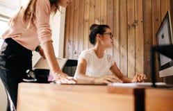 Δύο επιχειρησιακές γυναίκες που εργάζονται μαζί στο πρόγραμμα Στοκ εικόνες με δικαίωμα ελεύθερης χρήσης