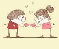 Κάρτα αγάπης με τους εραστές Στοκ εικόνα με δικαίωμα ελεύθερης χρήσης