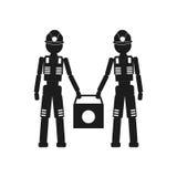 Δύο εργαζόμενοι που κρατούν ένα διανυσματικό μαύρο εικονίδιο τσαντών στο άσπρο υπόβαθρο Στοκ εικόνα με δικαίωμα ελεύθερης χρήσης