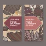 Δύο ετικέτες αγοράς τροφίμων χρώματος με τις λιχουδιές κρέατος βάσισαν τα σε διαθεσιμότητα συρμένα σκίτσα ελεύθερη απεικόνιση δικαιώματος