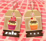 Δύο ετικέττες με τα cupcakes Στοκ φωτογραφία με δικαίωμα ελεύθερης χρήσης