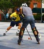 Δύο ευθύγραμμοι παίκτες χόκεϋ κυλίνδρων στην Ουάσιγκτον Στοκ Φωτογραφίες