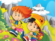 Δύο ευτυχή παιδιά στα βουνά Στοκ εικόνες με δικαίωμα ελεύθερης χρήσης