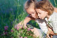 Δύο ευτυχή παιδιά που παίζουν στο πάρκο στο χρόνο ημέρας Στοκ φωτογραφία με δικαίωμα ελεύθερης χρήσης