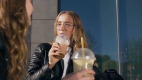 Δύο ευτυχή όμορφα κορίτσια που πίνουν milkshakes μέσα υπαίθρια στη θερινή ηλιόλουστη ημέρα Άνθρωποι και έννοια φιλίας φιλμ μικρού μήκους