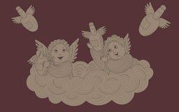 Δύο ευτυχείς άγγελοι κάθονται σε ένα σύννεφο και στέλνουν ένα μπουκάλι του κρασιού με ένα διάνυσμα των απομονώσεων Στοκ Εικόνες