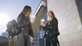 Δύο ευτυχείς θηλυκοί καλύτεροι φίλοι που περπατούν στο θερμό ηλιόλουστο αναζωογονώντας κοκτέιλ ημέρας και κατανάλωσης με τον πάγο απόθεμα βίντεο