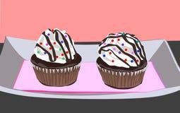 Δύο εύγευστοι εξυπνάκιες choco cupcakes διανυσματική απεικόνιση