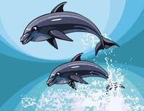 Δύο δελφίνια κινούμενων σχεδίων που πηδούν ευτυχώς στο νερό παφλασμών Στοκ Εικόνες