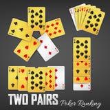 Δύο ζευγάρια πόκερ που ταξινομούν τα σύνολα χαρτοπαικτικών λεσχών Στοκ Εικόνα