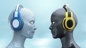 Δύο ζωηρόχρωμα κεφάλια κορίτσι-ρομπότ disco με τα λάμποντας μάτια στα μεγάλα ακουστικά που αντιμετωπίζουν το ένα το άλλο, Στοκ Φωτογραφία
