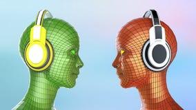 Δύο ζωηρόχρωμα κεφάλια κορίτσι-ρομπότ disco με τα λάμποντας μάτια στα μεγάλα ακουστικά που αντιμετωπίζουν το ένα το άλλο, Στοκ φωτογραφία με δικαίωμα ελεύθερης χρήσης