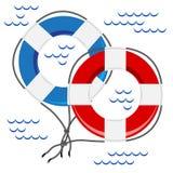 Δύο ζωηρόχρωμες ζώνες διάσωσης ελεύθερη απεικόνιση δικαιώματος