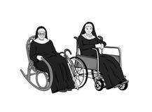 Δύο ηλικιωμένες καλόγριες κάθονται στις πολυθρόνες ελεύθερη απεικόνιση δικαιώματος