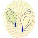 Δύο θαλασσινά κοχύλια στο αφηρημένο ωοειδές υπόβαθρο Στοκ εικόνες με δικαίωμα ελεύθερης χρήσης