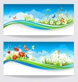 Δύο θερινά εμβλήματα με τα λουλούδια και τις πεταλούδες ελεύθερη απεικόνιση δικαιώματος