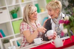 Δύο θηλυκά που μιλούν και που πίνουν τον καφέ Στοκ φωτογραφία με δικαίωμα ελεύθερης χρήσης