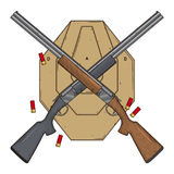 Δύο διέσχισαν τα κυνηγετικά όπλα με το στόχο και τα πυρομαχικά, διανυσματική απεικόνιση που απομονώθηκε στο άσπρο υπόβαθρο Πυροβό Στοκ Φωτογραφίες