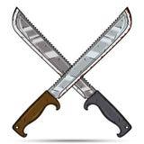 Δύο διασχισμένα μεγάλα μαχαίρια κινούμενων σχεδίων διανυσματικό λευκό καρ&chi Στοκ Φωτογραφίες