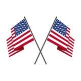 Δύο διασχισμένο διάνυσμα αμερικανικών σημαιών Στοκ Εικόνες