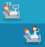 Δύο ιατρικά εμβλήματα με το διάστημα για το κείμενο ελεύθερη απεικόνιση δικαιώματος