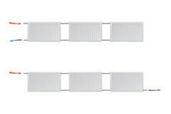 Δύο διαφορετικά συστήματα θέρμανσης με τα θερμαντικά σώματα επιτροπής χάλυβα σε ένα άσπρο υπόβαθρο Στοκ Φωτογραφίες