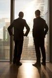 Δύο διαφορετικοί πολυ-εθνικοί συνεργάτες που στέκονται κοντά στο παράθυρο, κάθετο Στοκ Φωτογραφίες