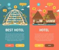 Δύο κάθετα εμβλήματα με το κτήριο ξενοδοχείων Στοκ φωτογραφίες με δικαίωμα ελεύθερης χρήσης