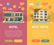 Δύο κάθετα εμβλήματα με το κτήριο ξενοδοχείων Στοκ εικόνες με δικαίωμα ελεύθερης χρήσης