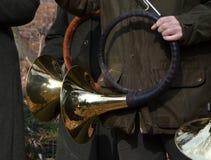 Δύο κέρατα κυνηγιού Στοκ φωτογραφίες με δικαίωμα ελεύθερης χρήσης