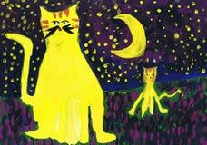 Δύο κίτρινες γάτες τη νύχτα κάτω από το φεγγάρι Σχέδιο παιδιών ` s Στοκ εικόνες με δικαίωμα ελεύθερης χρήσης