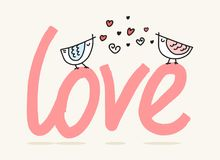 Δύο καλά πουλιά που κάθονται και που τραγουδούν επάνω από τη λέξη αγάπης Χαριτωμένη επίπεδη διανυσματική απεικόνιση ημέρας βαλεντ Στοκ Εικόνα