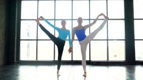 Δύο καλές γυναίκες γιόγκας που κάνουν τη γιόγκα μαζί στο στούντιο με τα μεγάλα παράθυρα Νέες γυναίκες που κάνουν τη γιόγκα Γυναίκ φιλμ μικρού μήκους
