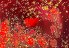 Δύο καρδιές, λουλούδια και νιφάδες χιονιού Διανυσματική απεικόνιση