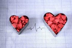 Δύο καρδιές με το καρδιογράφημα Στοκ εικόνα με δικαίωμα ελεύθερης χρήσης