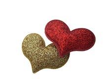 Δύο καρδιές που απομονώνονται στο λευκό Στοκ Εικόνα