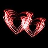 Δύο καρδιές πυρκαγιάς. Στοκ Φωτογραφίες