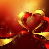 Δύο καρδιές φιαγμένες από κορδέλλες Στοκ εικόνες με δικαίωμα ελεύθερης χρήσης