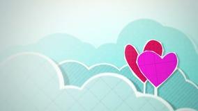 Δύο καρδιές στο βρόχο σύννεφων διανυσματική απεικόνιση
