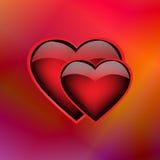 Δύο καρδιές στο ιριδίζον υπόβαθρο Στοκ Εικόνες