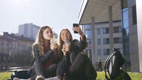 Δύο καυκάσια κορίτσια εφήβων με τη φρέσκια συνεδρίαση χυμού στο χορτοτάπητα που χρησιμοποιεί το κινητό τηλέφωνο που παίρνει selfi απόθεμα βίντεο